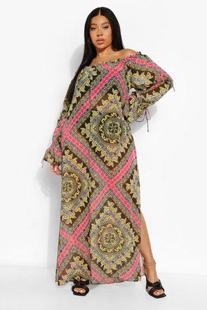 Boohoo Women Printed Dresses - Womens Plus Zebra Chain Print Bardot Beach Maxi - - 12
