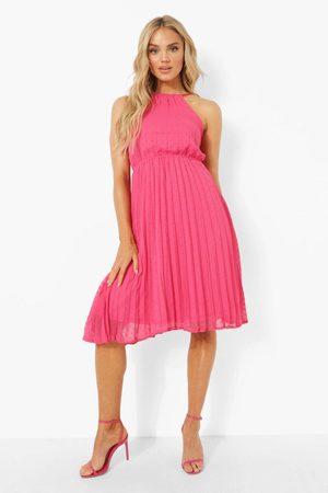 Boohoo Womens Dobby Mesh Halterneck Midi Smock Dress - - 8