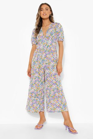 Boohoo Womens Floral Plunge Puff Sleeve Culotte Jumpsuit - - 4
