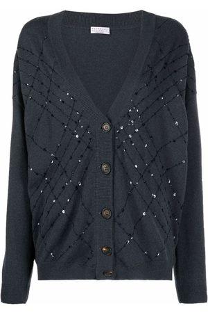 Brunello Cucinelli Women Long sleeves - Sequin-embellished long-sleeve cardigan - C7186 BLU