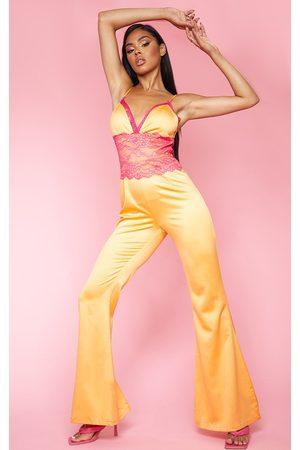 PRETTYLITTLETHING Women Jumpsuits - Bright Contrast Lace Trim Satin Jumpsuit