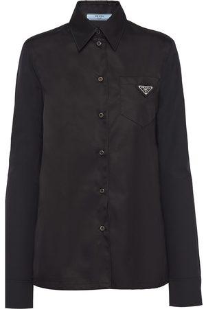Prada Women Long sleeves - Logo-plaque long-sleeve shirt