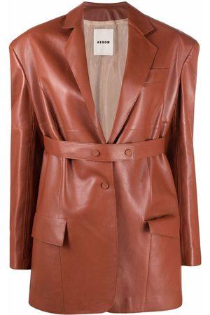 AERON Women Blazers - Honey single-breasted leather blazer
