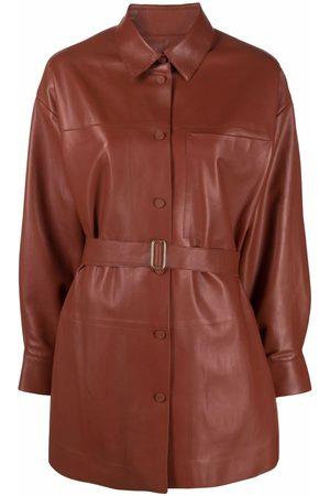AERON Women Leather Jackets - Jaiphal tied-waist leather shirt-jacket