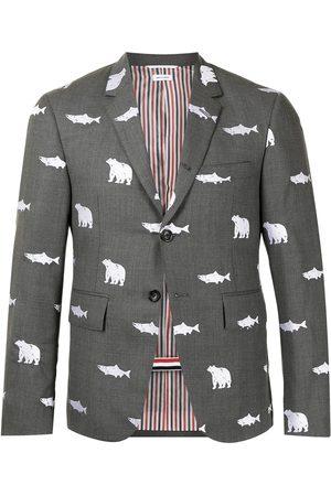 Thom Browne Animal-print wool blazer - Grey