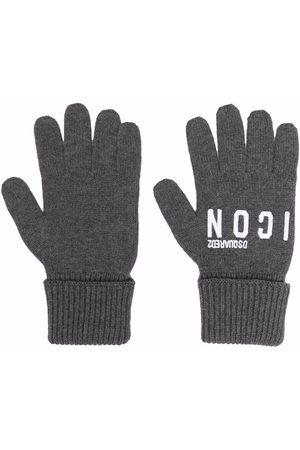 Dsquared2 Men Gloves - Logo-embroidered knitted gloves - Grey