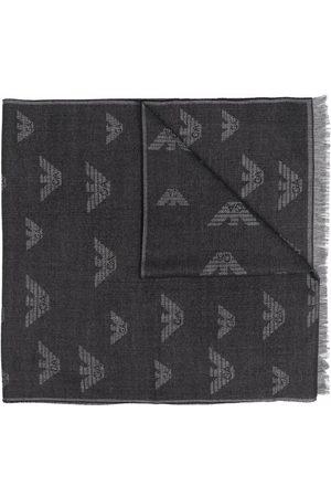 Emporio Armani Monogram-logo frayed-edge scarf