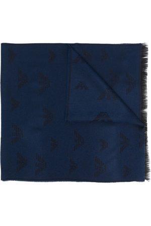 Emporio Armani Men Scarves - Logo-embroidered fringed scarf
