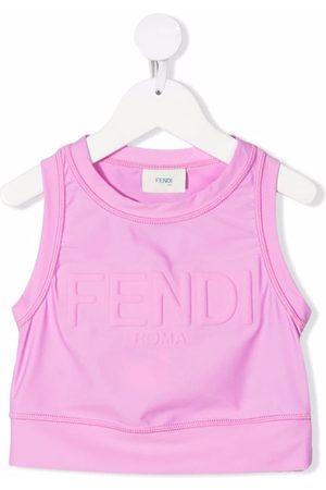 Fendi Logo-lettering cropped top