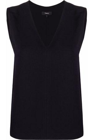 THEORY Women Tank Tops - V-neck sleeveless blouse