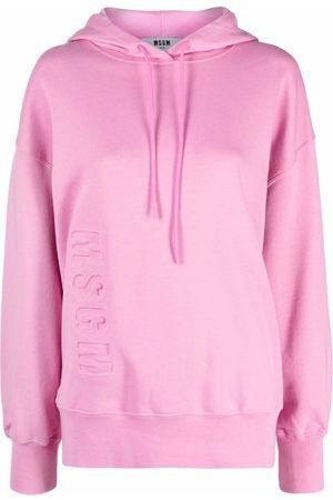 Msgm Women Hoodies - Logo-print pullover hoodie