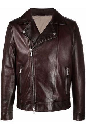 ELEVENTY Men Leather Jackets - Zipped leather biker jacket