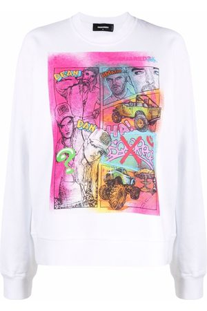 Dsquared2 Women Sweatshirts - Graphic-print cotton sweatshirt
