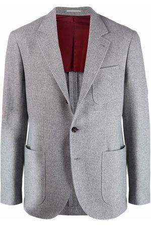 Brunello Cucinelli Men Blazers - Single-breasted cashmere blazer - Grey