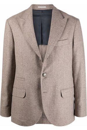 Brunello Cucinelli Men Blazers - Single-breasted blazer - Neutrals