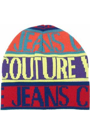 VERSACE Intarsia knit-logo wool beanie