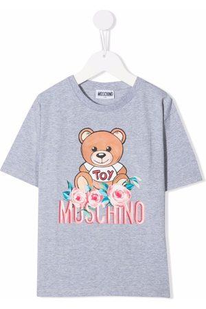 Moschino Girls Short Sleeve - Teddy bear-print short-sleeved T-shirt - Grey