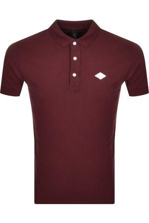 Replay Men Short Sleeve - Short Sleeved Logo Polo T Shirt Burgundy