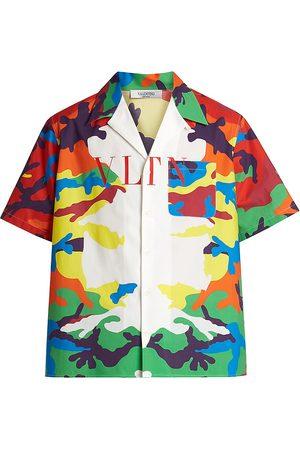 VALENTINO Men Shirts - Men's VLTN Multi Camo Camp Shirt - Bianco Camo - Size 44