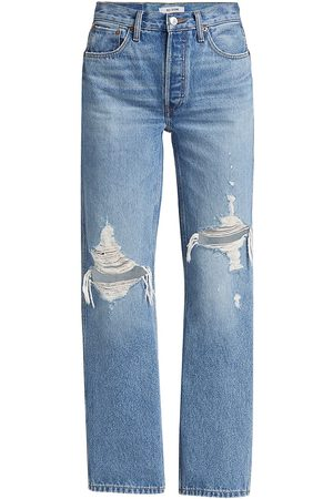 RE/DONE Women High Waisted - Women's High-Rise '90s Loose Jeans - Destroyed Medium - Size 29