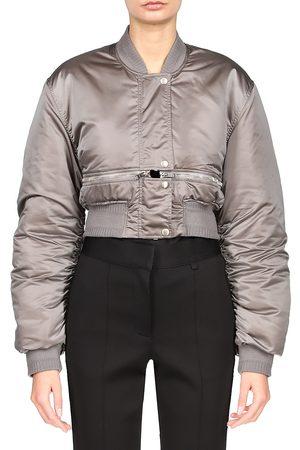 Givenchy Women Bomber Jackets - Women's Logo Tech Satin Bomber Jacket - Titanium - Size 8