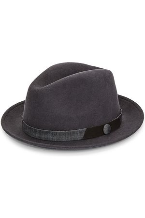 Saks Fifth Avenue Men Hats - Men's Banded Wool Fedora - Grey - Size Small