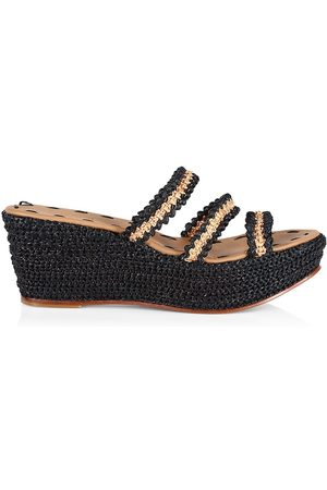 Carrie Forbes Women's Said Raffia 3-Strap Wedge Sandals - - Size 8
