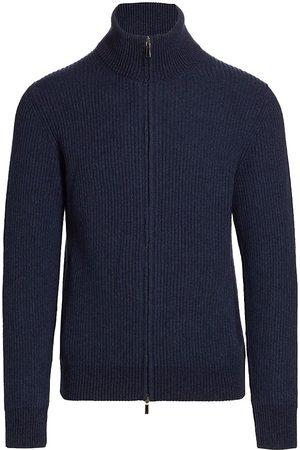 Saks Fifth Avenue Men's Ribbed Zip-Up Sweater - Dress - Size Medium