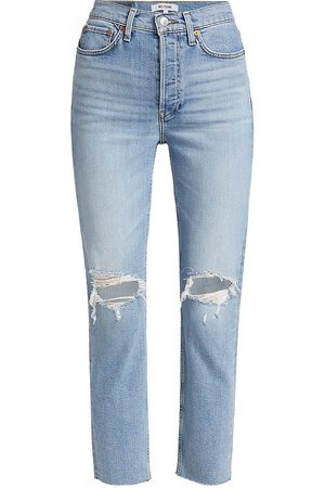 RE/DONE Women High Waisted - Women's High-Rise '90s Ankle Jeans - Light Dusk Destroy - Size 28