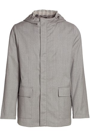 Saks Fifth Avenue Men Rainwear - Men's Lightweight Wool Raincoat - Grey - Size XXL