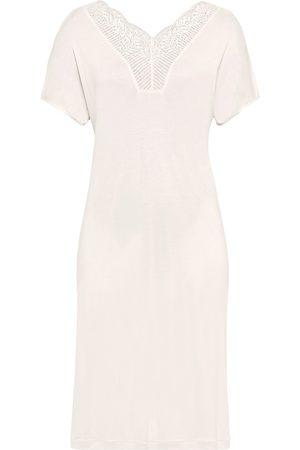 Hanro Women Socks - Women's Irini Short Sleeve Nightgown - Full Moon - Size XL