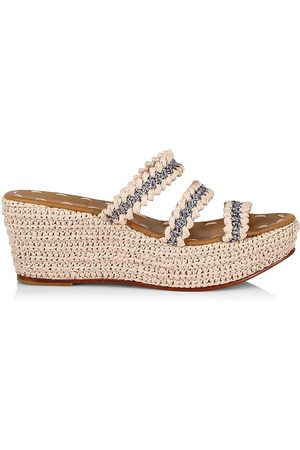 Carrie Forbes Women Wedges - Women's Said Raffia 3-Strap Wedge Sandals - Natural - Size 7