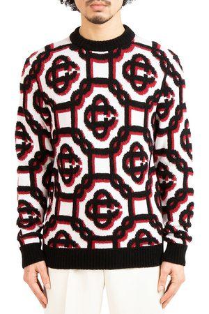 Casablanca Men Sweatshirts - Men's Grand Prix 3D Monogram Sweater - Off Multi - Size Medium