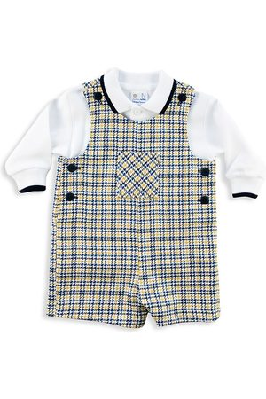 Florence Eiseman Baby Boy's Houndstooth Shortalls & Polo - Navy - Size 24 Months