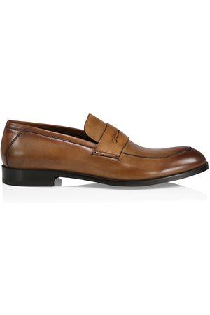 Ermenegildo Zegna Men's Siena Flex Leather Penny Loafers - Cognac - Size 9