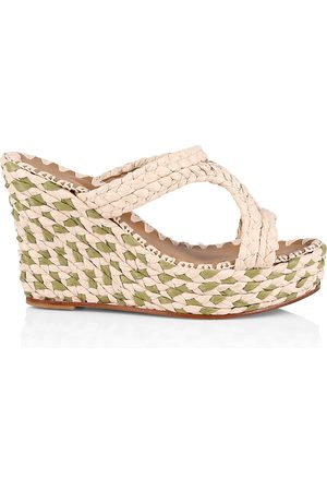Carrie Forbes Women Wedges - Women's Natural Raffia Platform Wedge Mules - Natural - Size 6