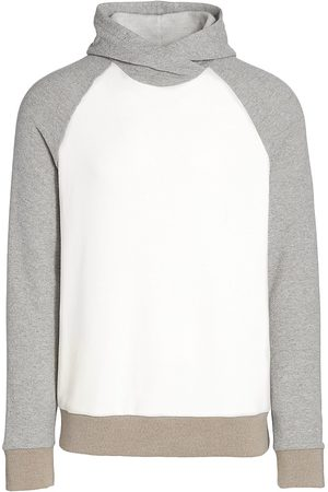 Saks Fifth Avenue Men's Contrast Pullover Hoodie Sweatshirt - Tan Combo - Size XL