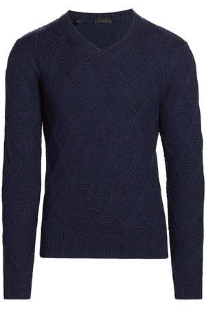 Saks Fifth Avenue Men Sports Hoodies - Men's Diamond Stitch V-Neck Sweater - Navy - Size Large
