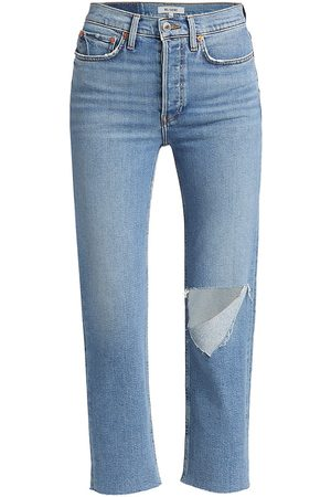 RE/DONE Women High Waisted - Women's High-Rise '70s Stovepipe Jeans - Brisk With Rips - Size 27