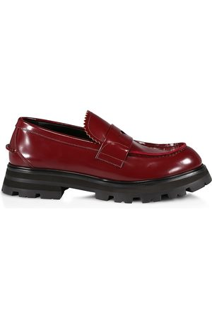 McQ Men's Patent Leather Slip-On Loafers - Burgundy - Size 12