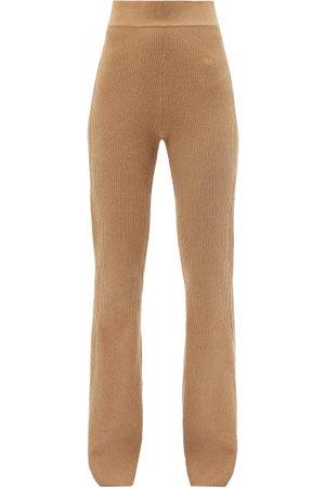Frame Women Wide Leg Pants - High-rise Ribbed Cotton-blend Flared-leg Trousers - Womens