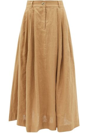 Mara Hoffman Tulay Pleated Hemp Midi Skirt - Womens - Camel