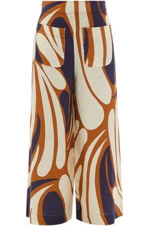 Cala De La Cruz Valerie Abstract-print Linen Wide-leg Trousers - Womens - Multi