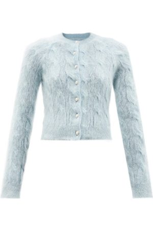 Paco rabanne Cropped Cable-knit Mohair-blend Cardigan - Womens - Light