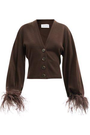 16Arlington Kara Feather-trim Wool-blend Cardigan - Womens - Dark