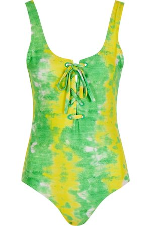 Ganni Women Swimsuits - Tie-dyed lace-up swimsuit