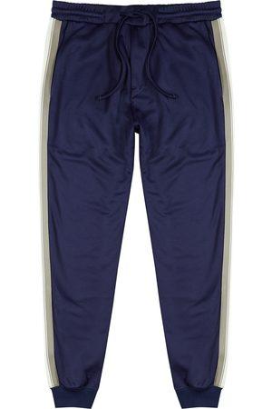 Lanvin Men Sports Pants - Navy striped cotton-blend sweatpants
