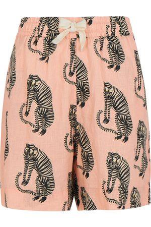 Desmond & Dempsey Sansindo Tiger printed linen pyjama shorts
