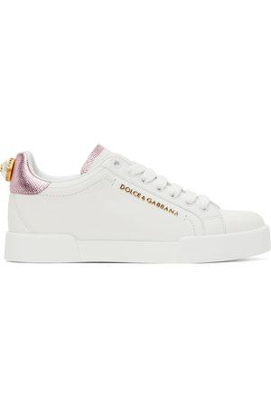 Dolce & Gabbana White & Pink Pearl Portofino Sneakers