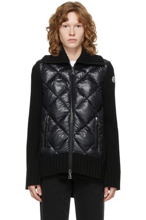 Moncler Black Down Paneled Turtleneck Jacket